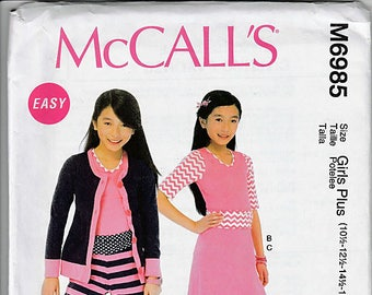 Girls'/Girls' Plus Cardigan, Top, Skirt and Pants / Original McCall's Crafts Uncut Sewing Pattern M6985