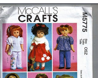 "18"" (45.5cm) Doll Clothes / Original McCall's Crafts Uncut Sewing Pattern M5775"