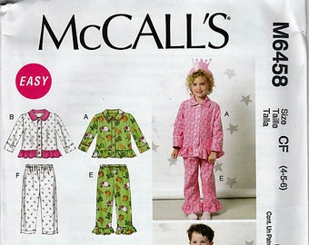 Children's Tops, and Pants / Original McCall's Uncut Sewing Pattern M6458