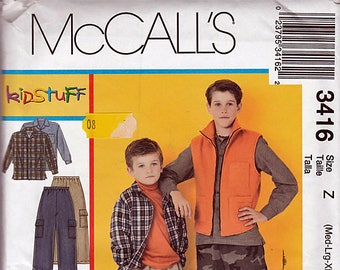 Children's and Boys Shirt, Vest and Pull-on Pants / Original McCall's Uncut Sewing Pattern 3416