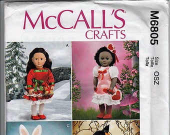 "Holiday clothes and Accessories for 18"" (45.5cm) Doll / Original McCall's Crafts Uncut Sewing Pattern M6805"