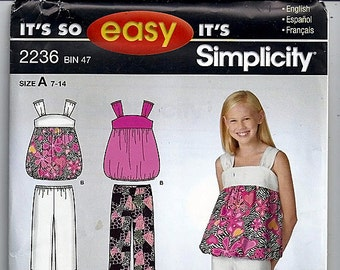 Girls Dress or Top and cropped Pants / Original Its so Easy Simplicity Uncut Sewing Pattern 2236