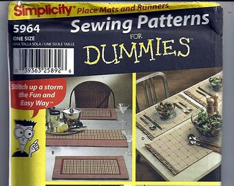 Table Runners in Three Sizes and Place Mats/ Original  Simplicity uncut Sewing Pattern For Dummies 5964