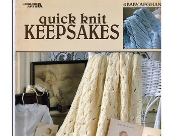 Quik Knit Keepsakes 6 Baby Afghans Knit Pattern booklet Leisure Arts 3109