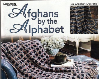 Afghans by the Alphabet 26 designs to crochet Pattern Book Leisure Arts 3379
