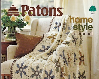 Patons Home Style Afghans 4 Designs to Crochet Pattern Book 944