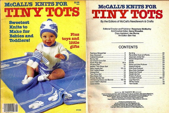 Mccalls Knits For Tiny Tots Knitting Pattern Book Mt8402 Etsy