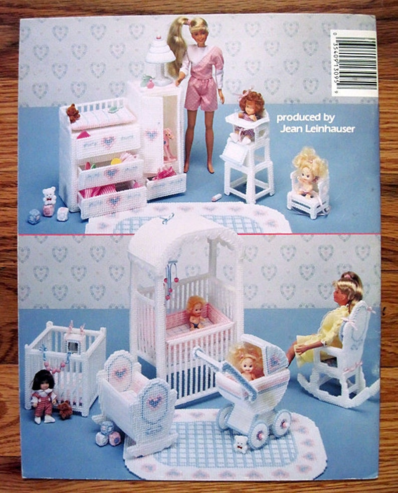 Fashion Doll Nursery Barbie Plastic Canvas Furniture Pattern Book American  School of Needlework 3095