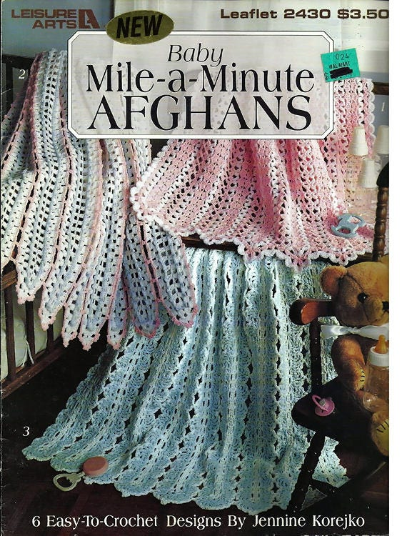 Baby Mile A Minute Afghans Crochet Pattern Book Leisure Arts Etsy