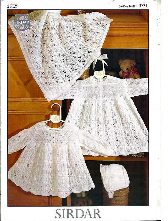 00d9555f06f2 Sirdar Snuggly 2 Ply Baby Set Knitting Pattern by Sirdar 3731