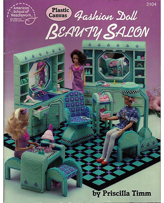 Fashion Doll Beauty Salon In Plastic Canvas For Barbie