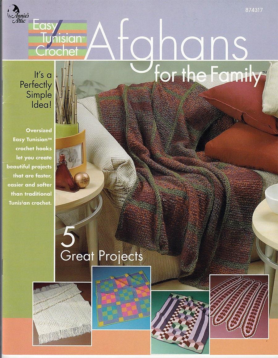Easy Tunisian Crochet Afghans For The Family Pattern Book Etsy