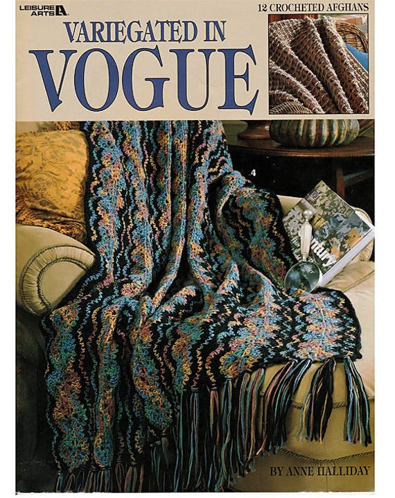 Variegated In Vogue Crochet Afghan Pattern Book Leisure Arts Etsy