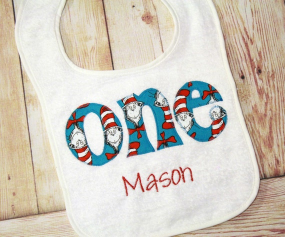 Cat in the Hat 1st Birthday Bib First Birthday Gift Made to  468ea866cb5