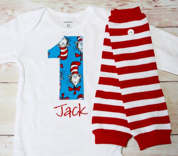Cat In The Hat Birthday Shirt Boy 1st Outfit