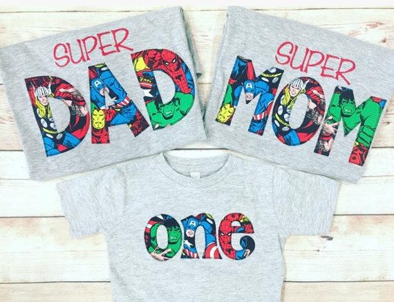 SUPERHERO Shirt Super MOM DAD Birthday Superhero