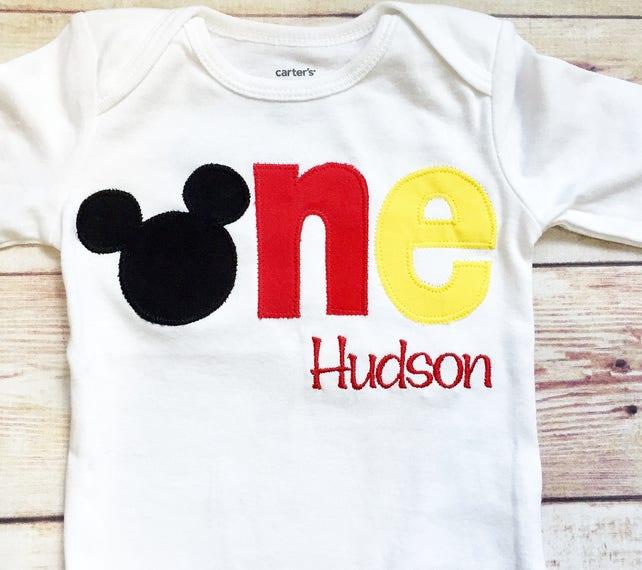 Mickey Mouse 1st Birthday Shirt Disney Boy Cake