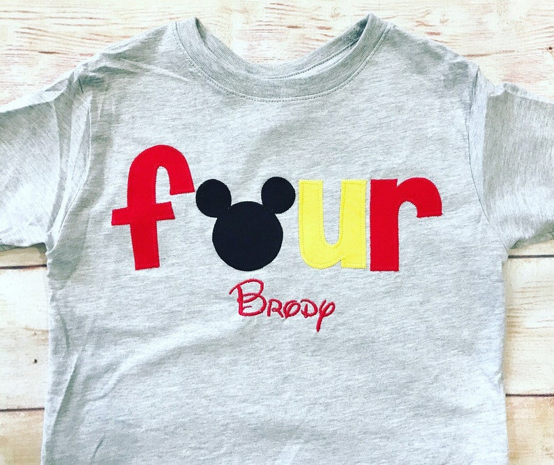 Mickey Mouse FOURTH Birthday Shirt Disney FOUR