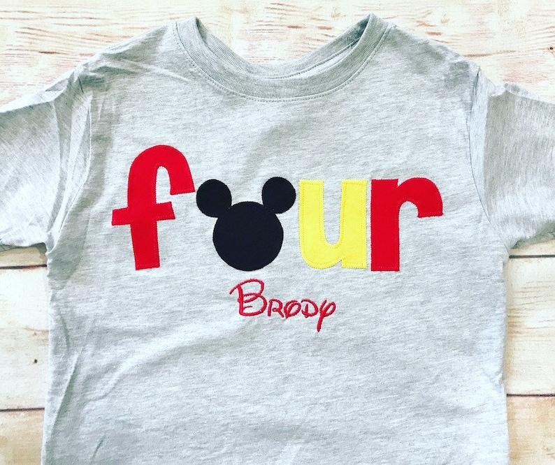 Mickey Mouse FOURTH Birthday Shirt Disney FOUR