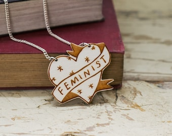 Feminist Heart Necklace, Sustainable Wooden Jewellery