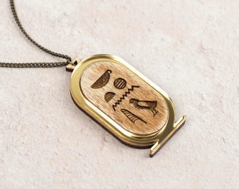 Egyptian Cartouche Necklace, Ancient Egypt Pendant, Laser Cut Gold Plywood Jewellery