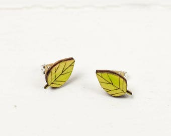 Green Leaf Earrings, Wooden Laser Cut Studs, Botanical Jewellery