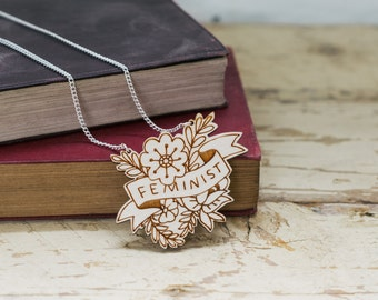 Feminist Floral Wooden Necklace, Sustainable Laser Cut Jewellery