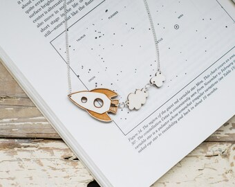 Rocket Ship Wooden Necklace, Sustainable Laser Cut Jewellery