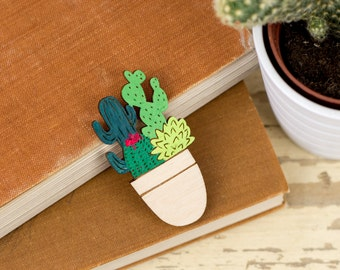 Pot Full of Cacti Brooch, Botanical Laser Cut Pin