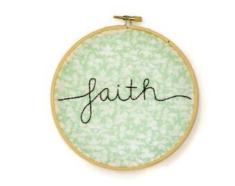 faith embroidery hoop wall art