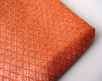 orange small golden flowers silk brocade fabric nr 217 fat quarter