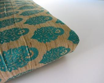 Natural silk with teal blue flowers silk brocade fabric nr 731- 1/4 yard | fat quarter