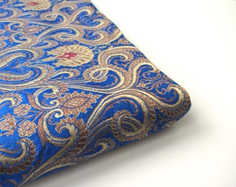 Kobalt blue gold red gold heavy Indian silk brocade fabric nr 563 fat quarter