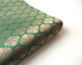 Green Irish with golden flower on shamrock Irish green silk brocade fabric nr 219 fat quarter