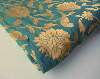 Aqua gold parrot silk brocade fabric nr 726 - REMNANT