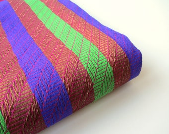 Blue green brown gold pink stripes India silk brocade fabric nr. 379