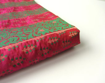 Green pink golden stripes India silk brocade fabric nr 84 fat quarter