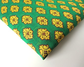 SALE Green yellow funny flower on green silk India silk brocade fabric nr 146 REMNANT