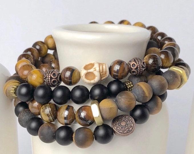 Featured listing image: Mens Tiger Eye Onyx Bracelet Skull Bracelet Gemstone Beaded Bracelet Mens Jewelry Mens Gift Husband Anniversary Gift for Dad Birthday Gift