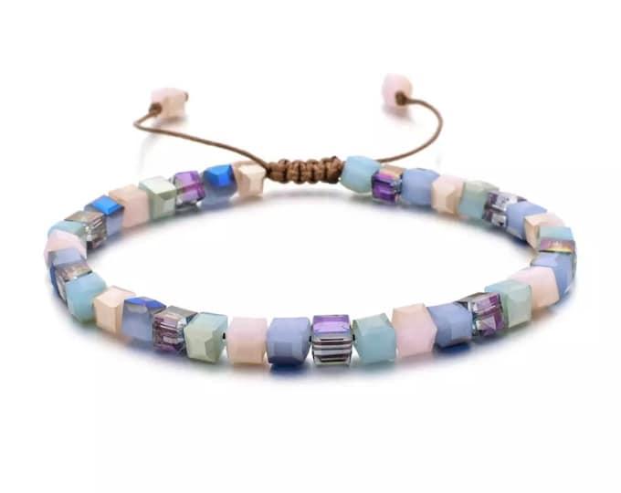 Featured listing image: Simple Boho Beaded Bracelet Styles Fashion Square Glass Crystal Shine Charm Bracelets For Women Bangles Wedding Bridal Jewellry Gifts 928/29