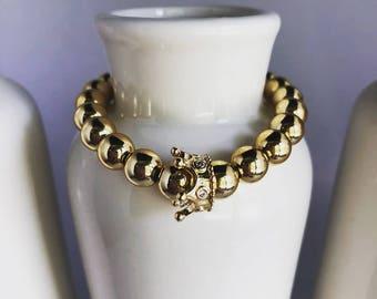 Gold Queen Beaded Bracelet