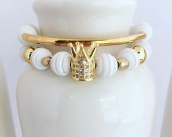 White Queen Beaded Bracelet