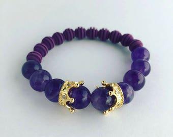 Amethyst Queen Beaded Bracelet