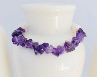 Amethyst chips Gemstone Bracelet,Natural White Jade Bracelet,amethyst and Jade Bracelet,Healing Crystals and Stones,Yoga Bracelet,Gifts