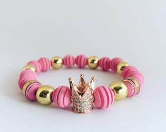 Pink Queen Beaded Bracelet