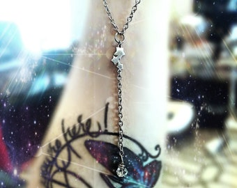 Necklace. Stars and Herkimer Diamond Lariat. Stainless Steel every day jewelry