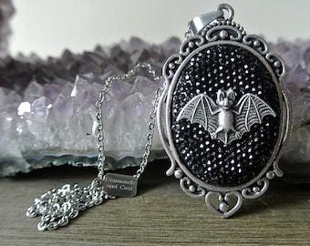 Necklace. Bat Rhinestone Cameo Pendant. Unique gift for bridesmaid gothic wedding.