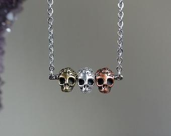 Necklace. Mixed Metal Sugar Skull Pendant. Unique gift for bridesmaid Dia De Los Muertos Wedding. Gold Copper Silver Triple Calavera