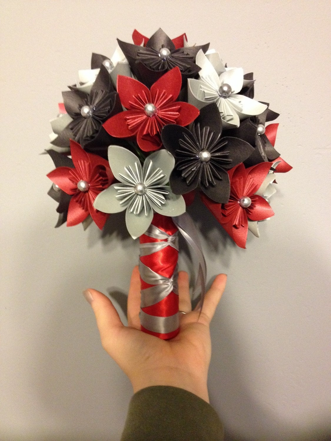 Paper Flower Kusudama Bouquet Red And Black Wedding Origami Etsy
