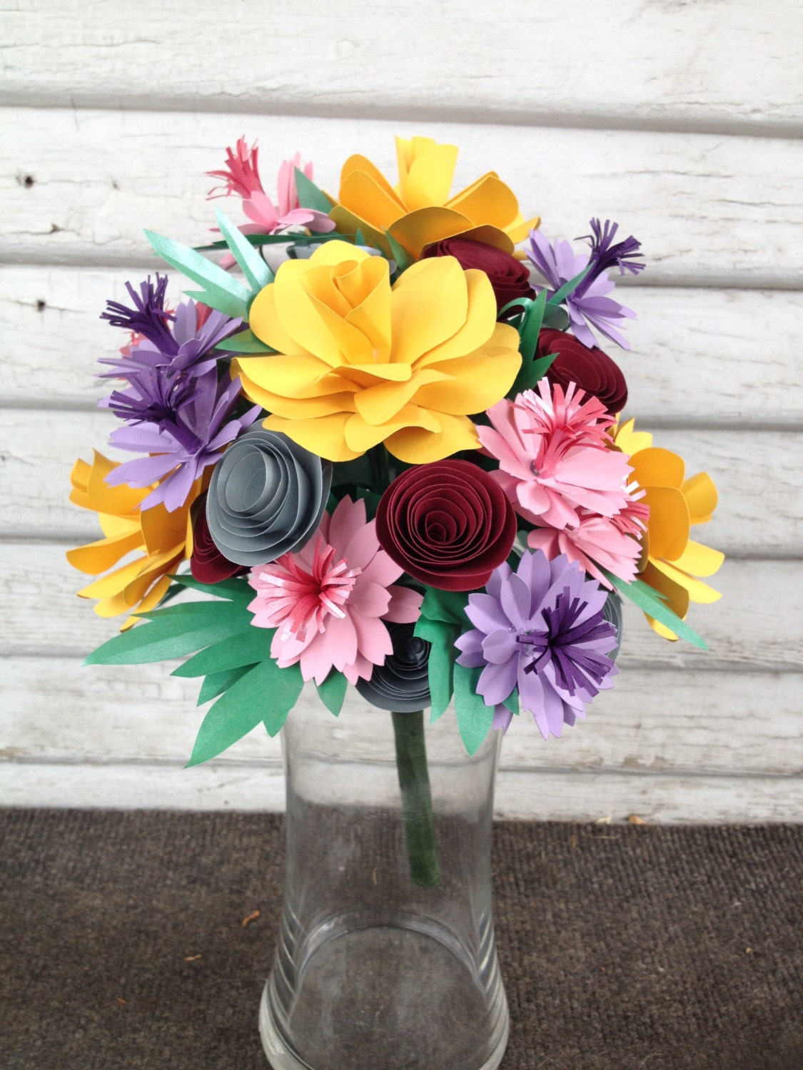 Paper flower bouquet mixed flowers colorful bouquet spring etsy zoom izmirmasajfo